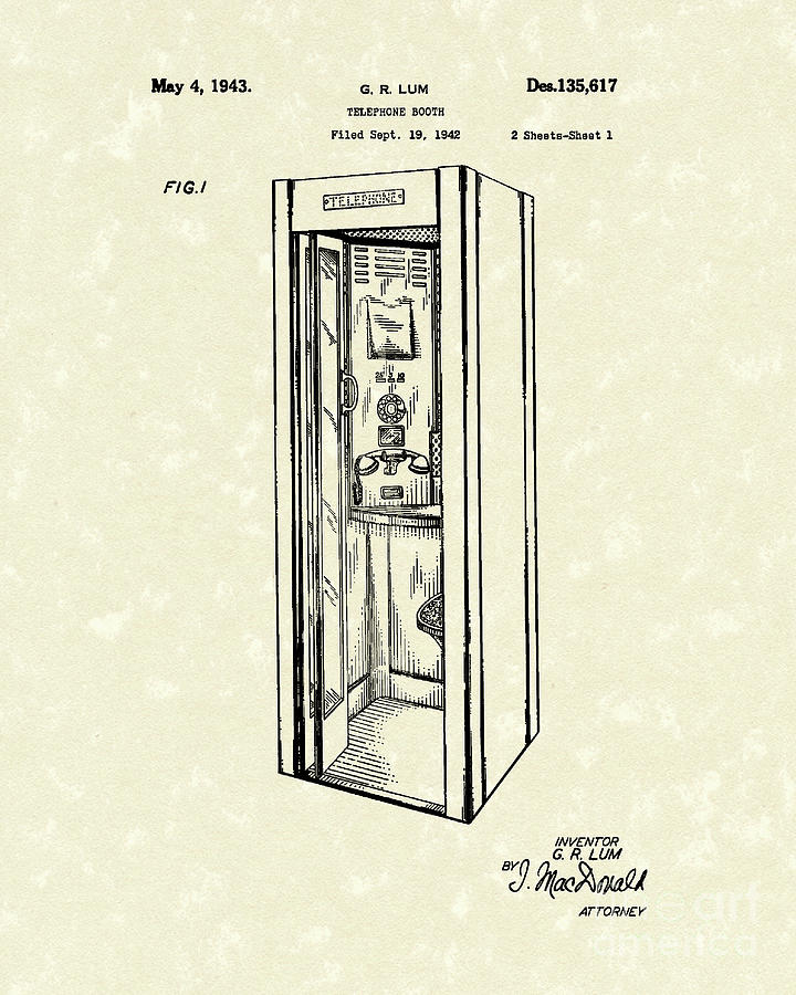 720x900 Telephone Booth 1943 Patent Art Drawing By Prior Art Design