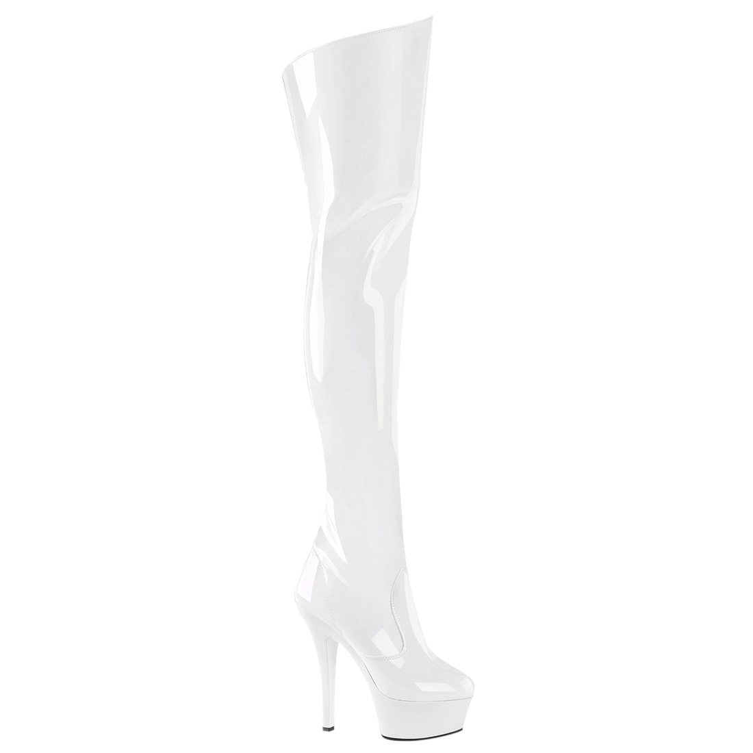 1100x1100 Pleaser Women Stiletto Heel Platform Thigh High Boots Zip Kiss