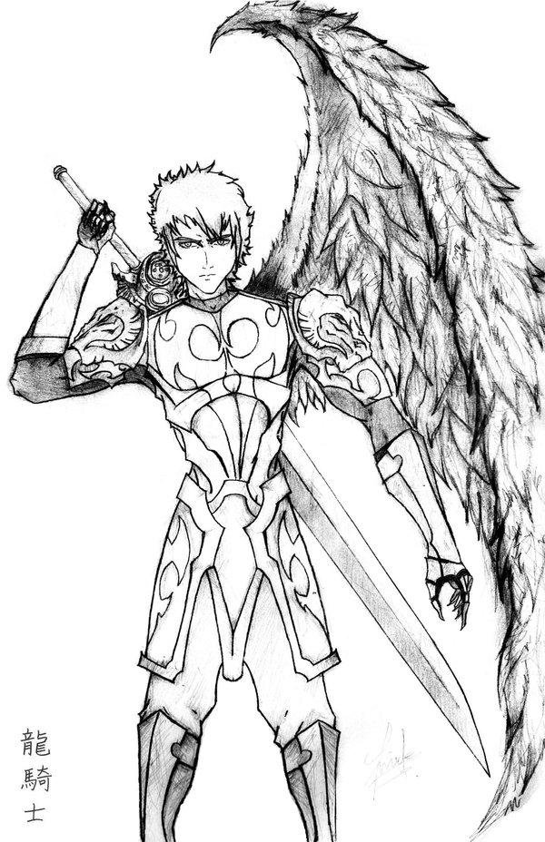 Knight Fighting Dragon Drawing