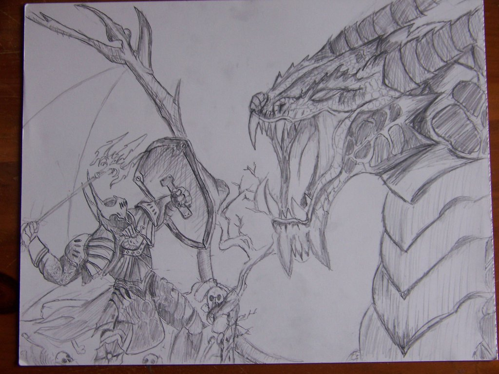 Knight Fighting Dragon Drawing at GetDrawings.com
