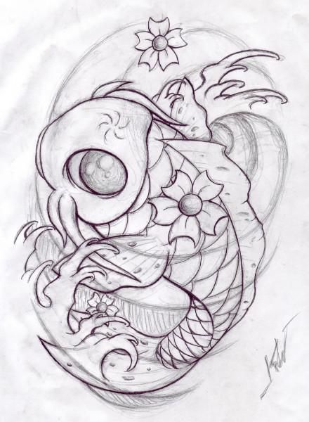 440x600 Koi Fish Tattoo Designs Koi Fish Sketch And Drawing, Koi Fish