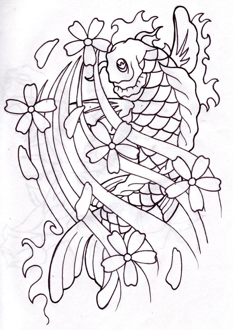 Koi Fish Drawing With Flowers