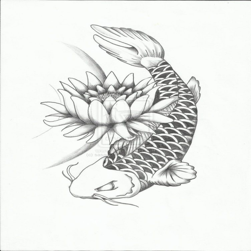 Koi Fish Drawing With Flowers At Getdrawings Free For Personal