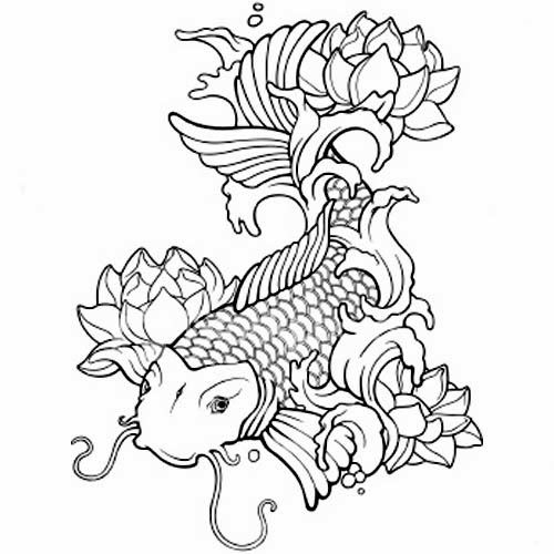 Koi Fish Drawing With Flowers At Getdrawingscom Free For Personal