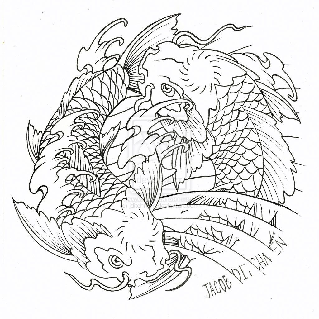 1024x1024 Yin And Yang Koi Fish Koi Fish Yin Yang Tattoo Designs ~ Koi