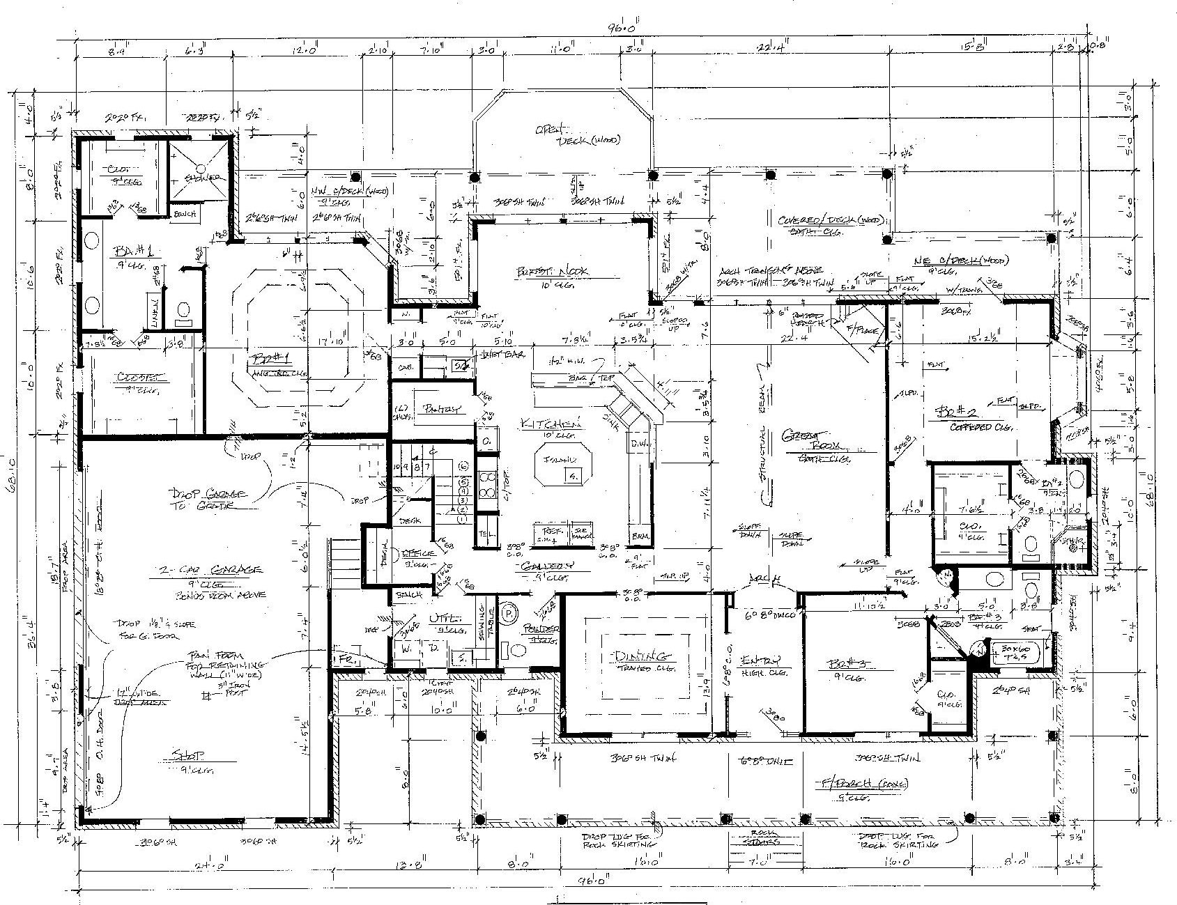 1689x1299 Modern House Drawing Perspective Floor Plans Design Architecture