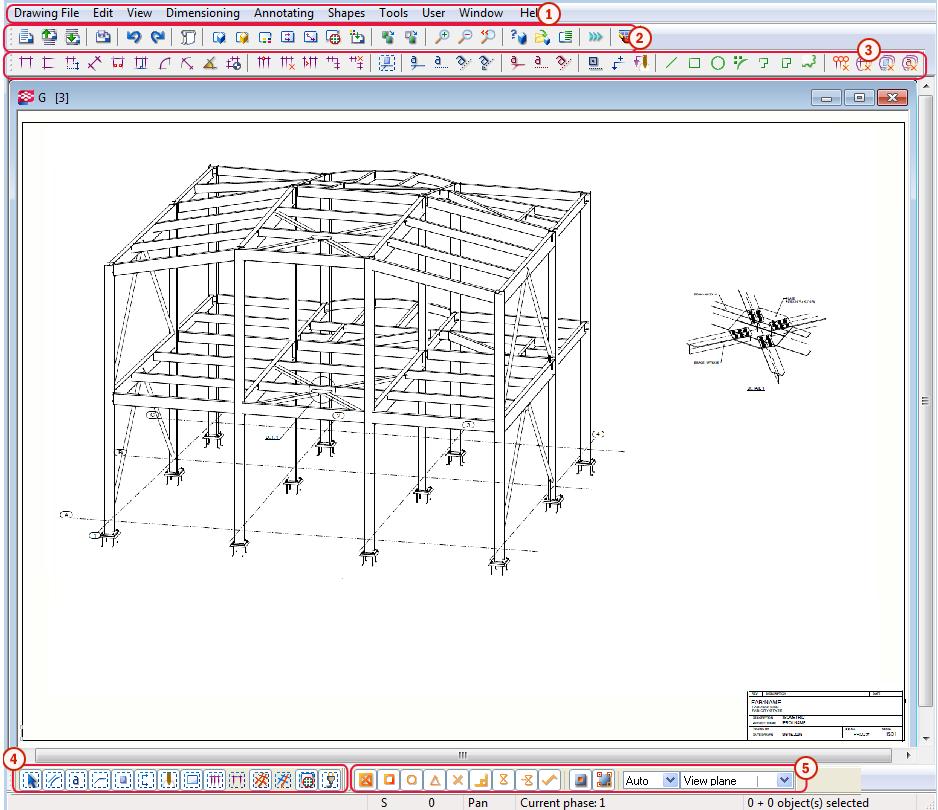 938x810 Drawing Mode Screen Layout Tekla User Assistance