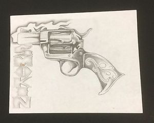 300x239 Smokin Antique Gun Done In Pencil Lead Drawing 8.5 X 11 Prison
