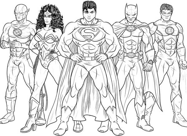 600x437 Justice League Coloring Pages Kids Drawing Of Justice League