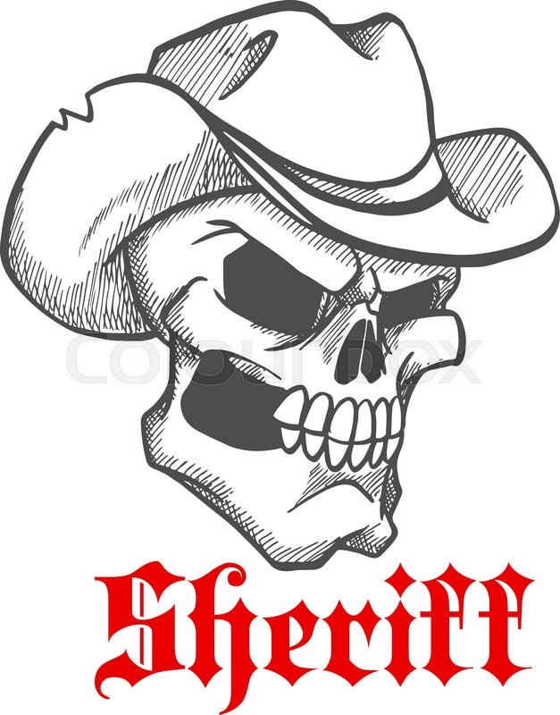 627x800 Dangerous And Angry Skull Sheriff Symbol Wearing Old Leather