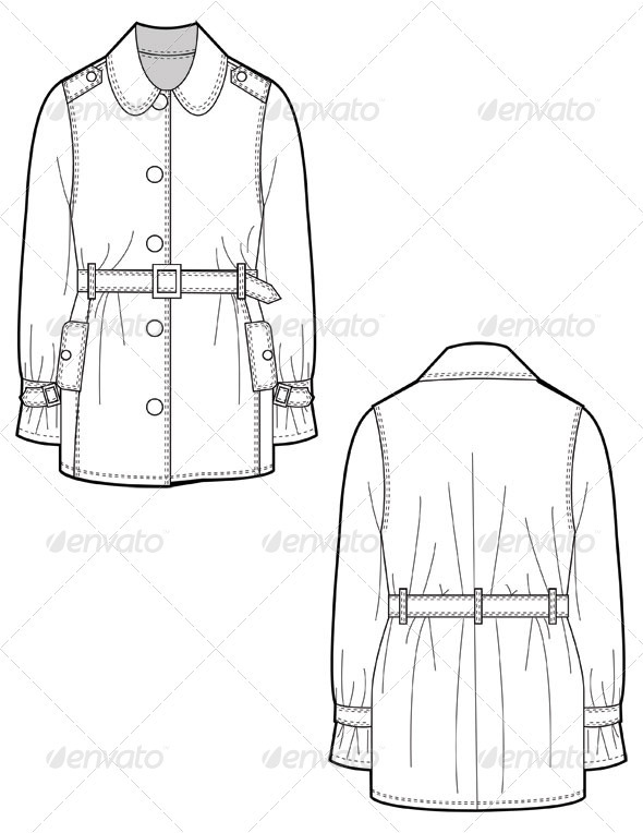 590x764 Fashion Flat Sketches For Leather Trench Coat By Studio524
