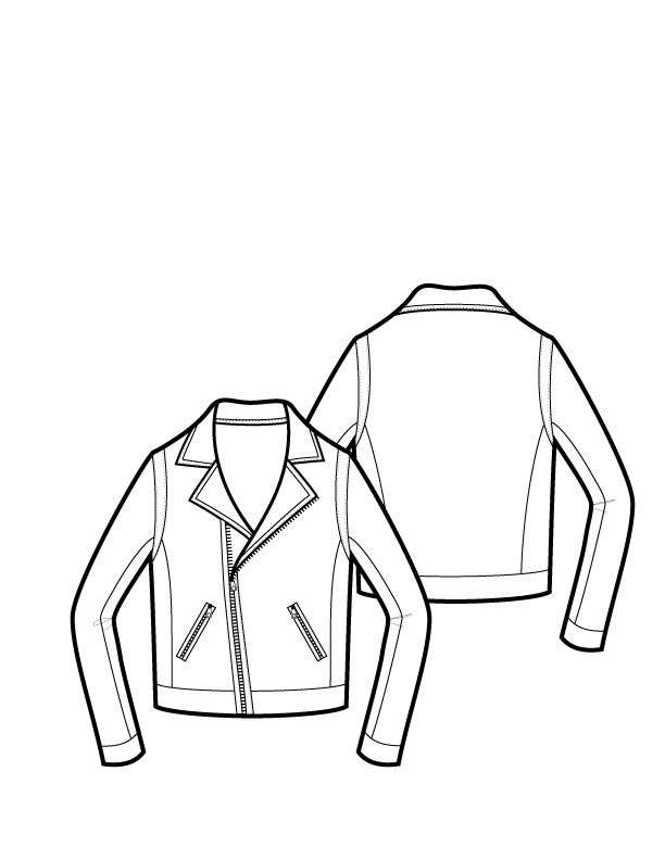 612x792 Leather Jacket Sketch Hart Biker Jacket Hart Biker Jacket