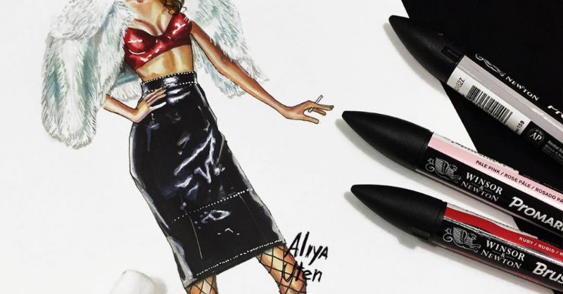800x418 Drawing Patent Leather + Light Faux Fur Fsketcher