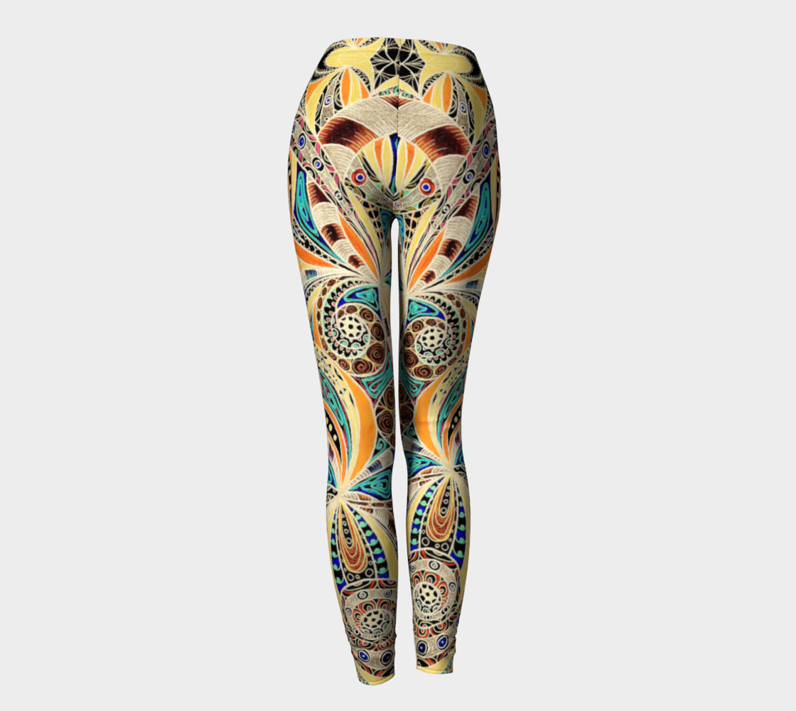 1120x1000 Leggings Drawing Floral Zentangle G14, Leggings By Medusa