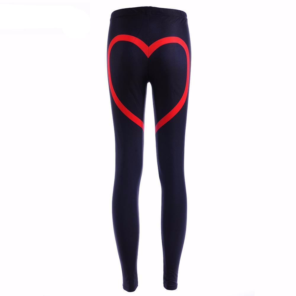 1000x1000 Love Drawing Red Leggings