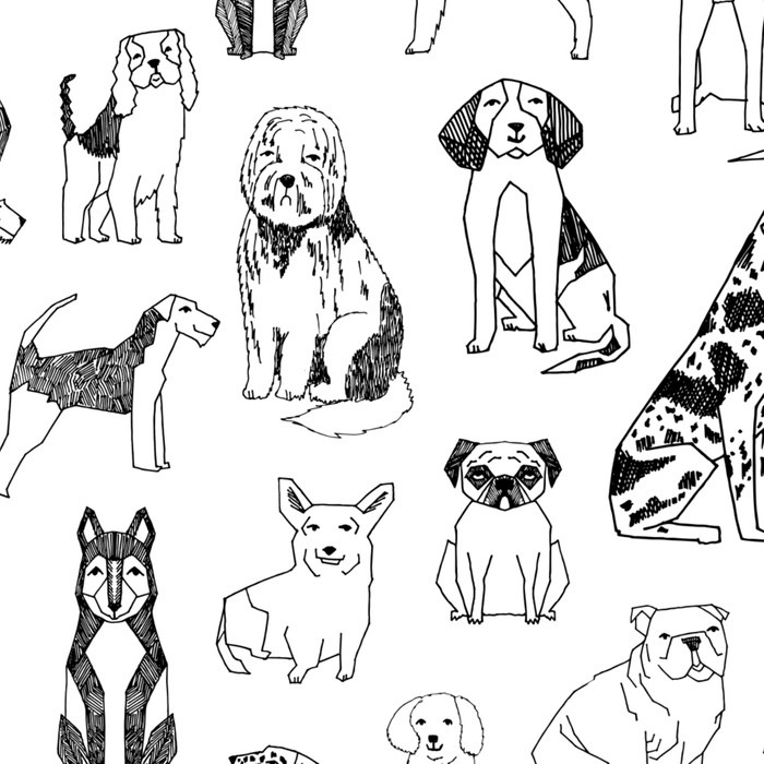 700x700 Dogs Pattern Minimal Drawing Dog Breeds Cute Pattern Gifts By