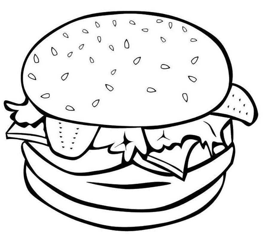 900x810 Food Hamburger Food Coloring Pages Hamburgers