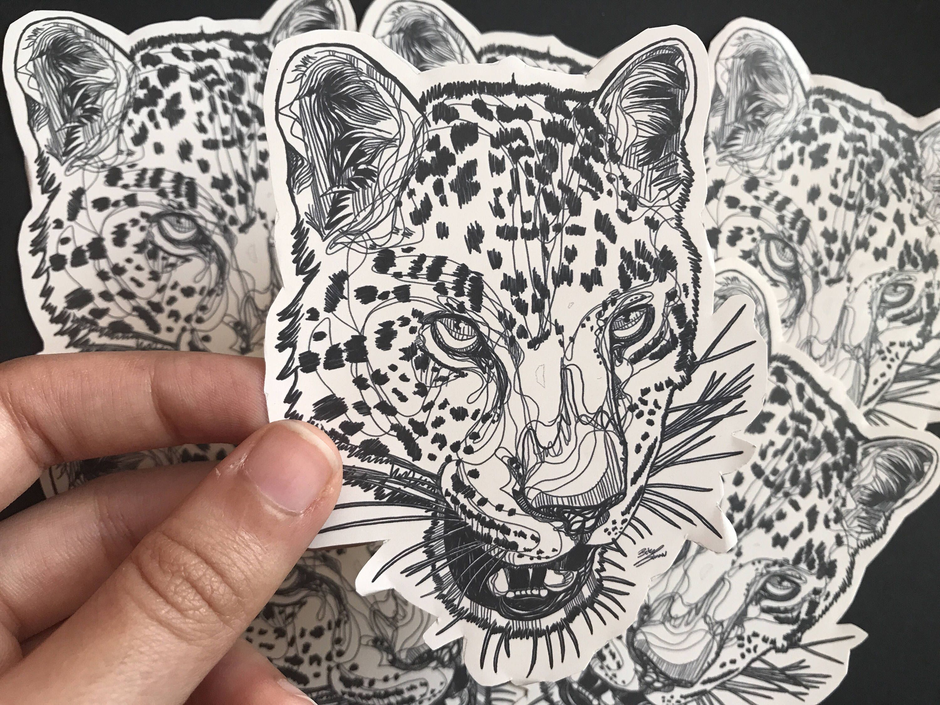 3000x2250 Leopard Sticker, Linedrawing, Laptop Decal, Notebook Sticker