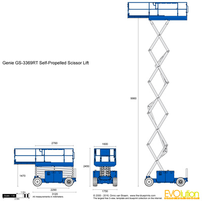 400x398 Genie Gs 3369rt Self Propelled Scissor Lift Vector Drawing