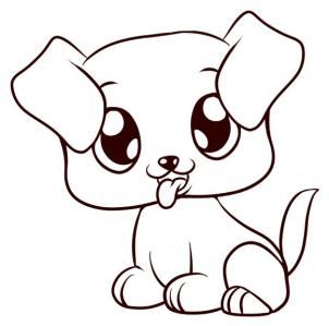 Line Drawing Of A Puppy