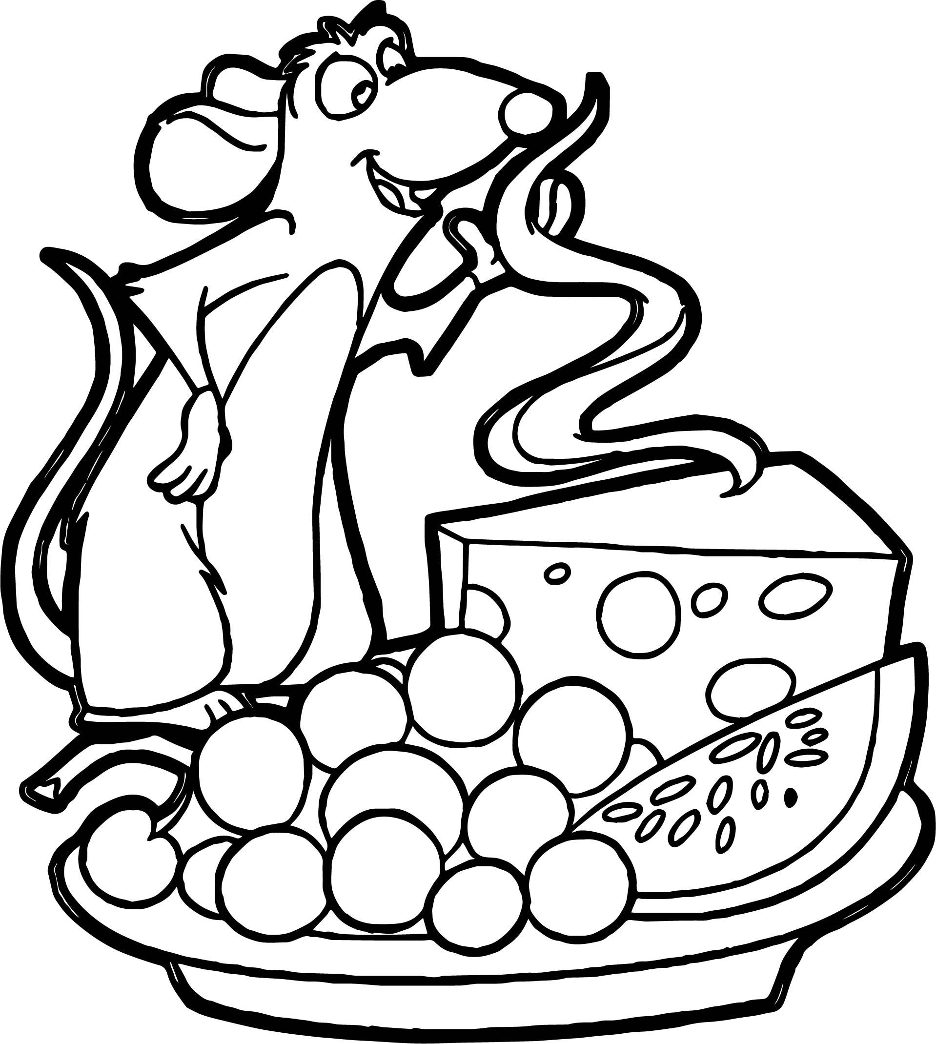 1918x2139 Ratatouille Cheese Grape Watermelon Coloring Page