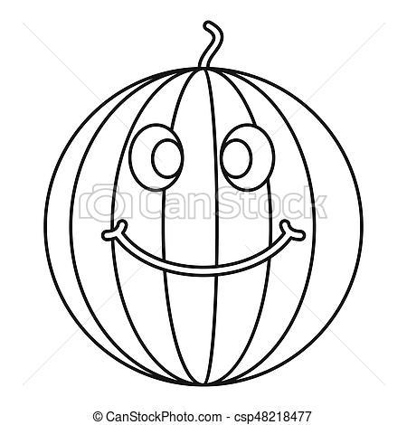 450x470 Ripe Smiling Watermelon Icon Outline. Ripe Smiling Watermelon Icon