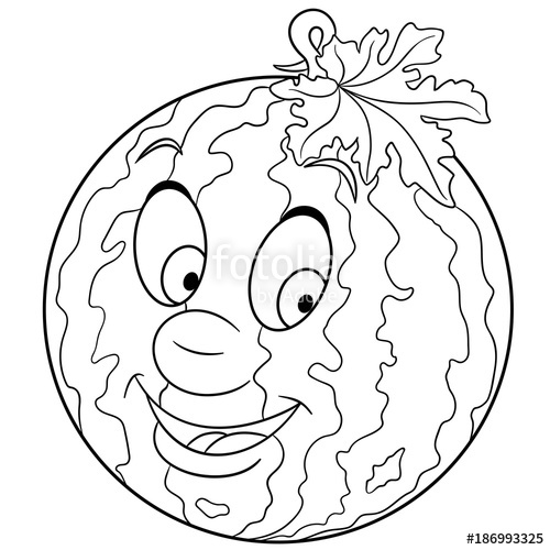 500x500 Coloring Book. Coloring Page. Cartoon Watermelon Character. Happy