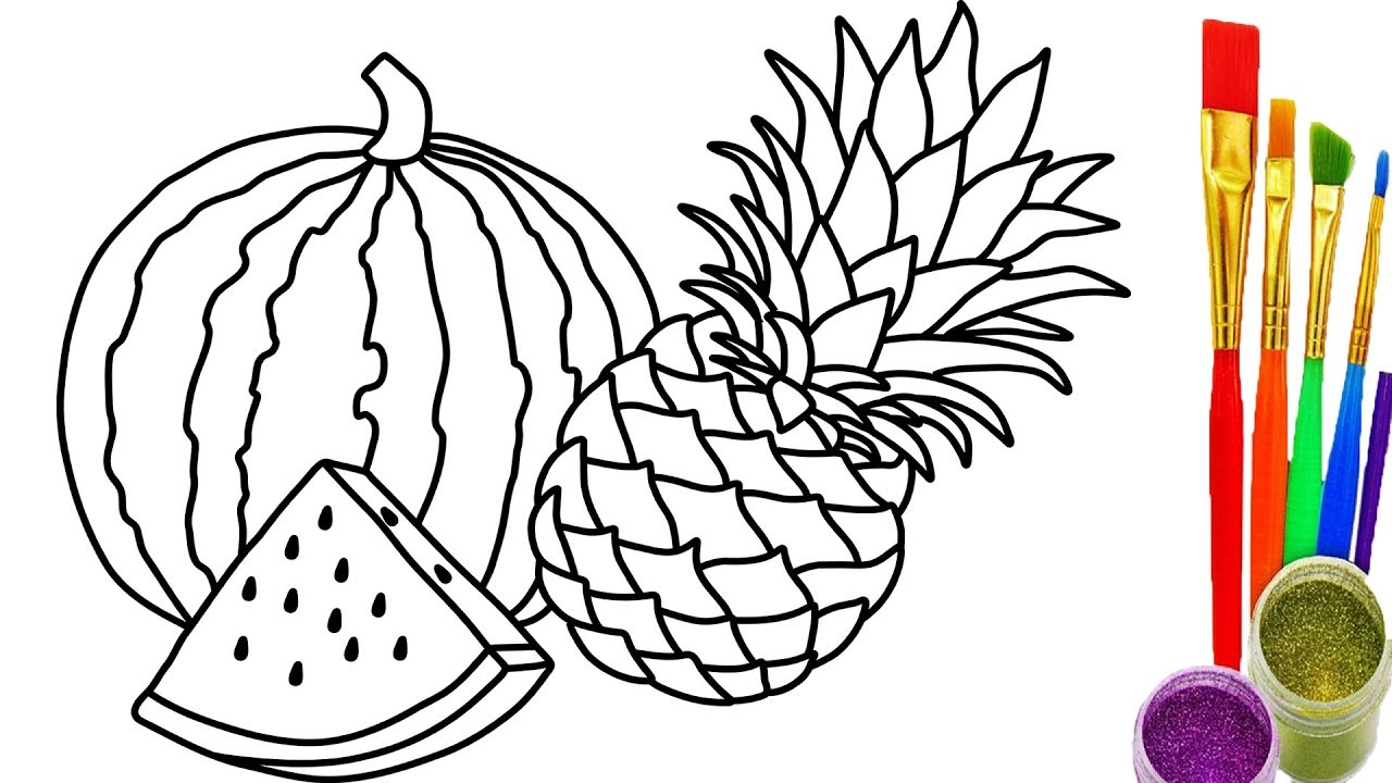1280x720 Collection Of Line Drawing Of Watermelon High Quality, Free