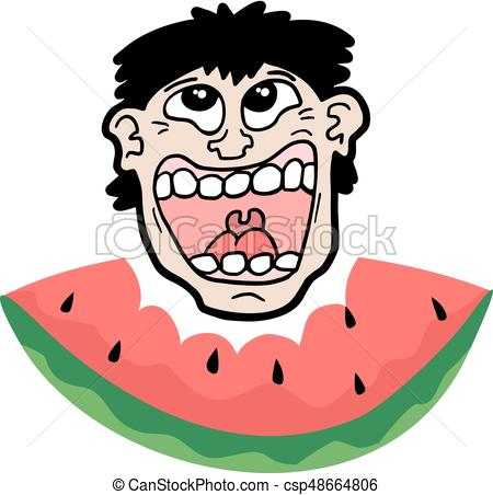 450x452 Creative Design Of Happy Face Eating Watermelon Vector Clipart