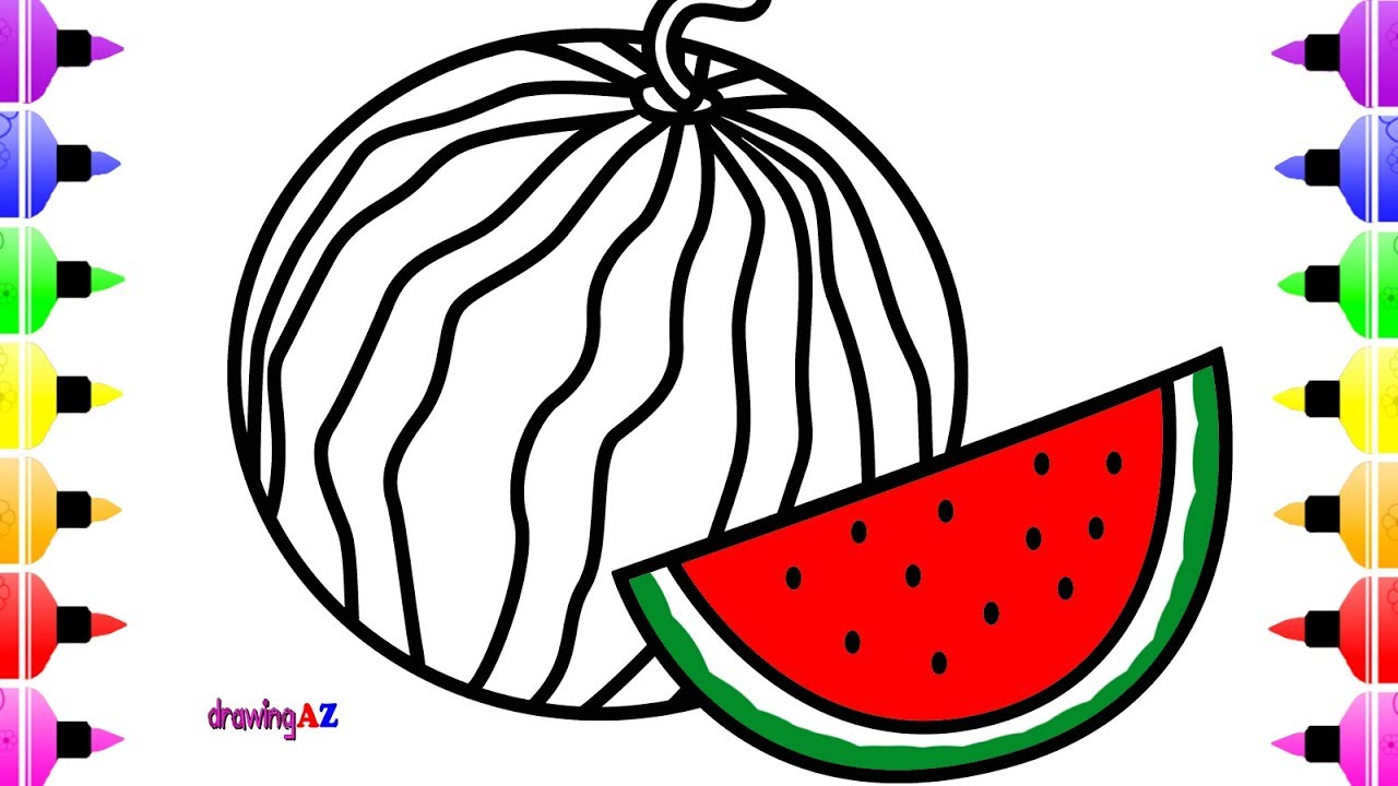 1280x720 How To Draw Watermelon For Kids Amp Coloring Book With Marker