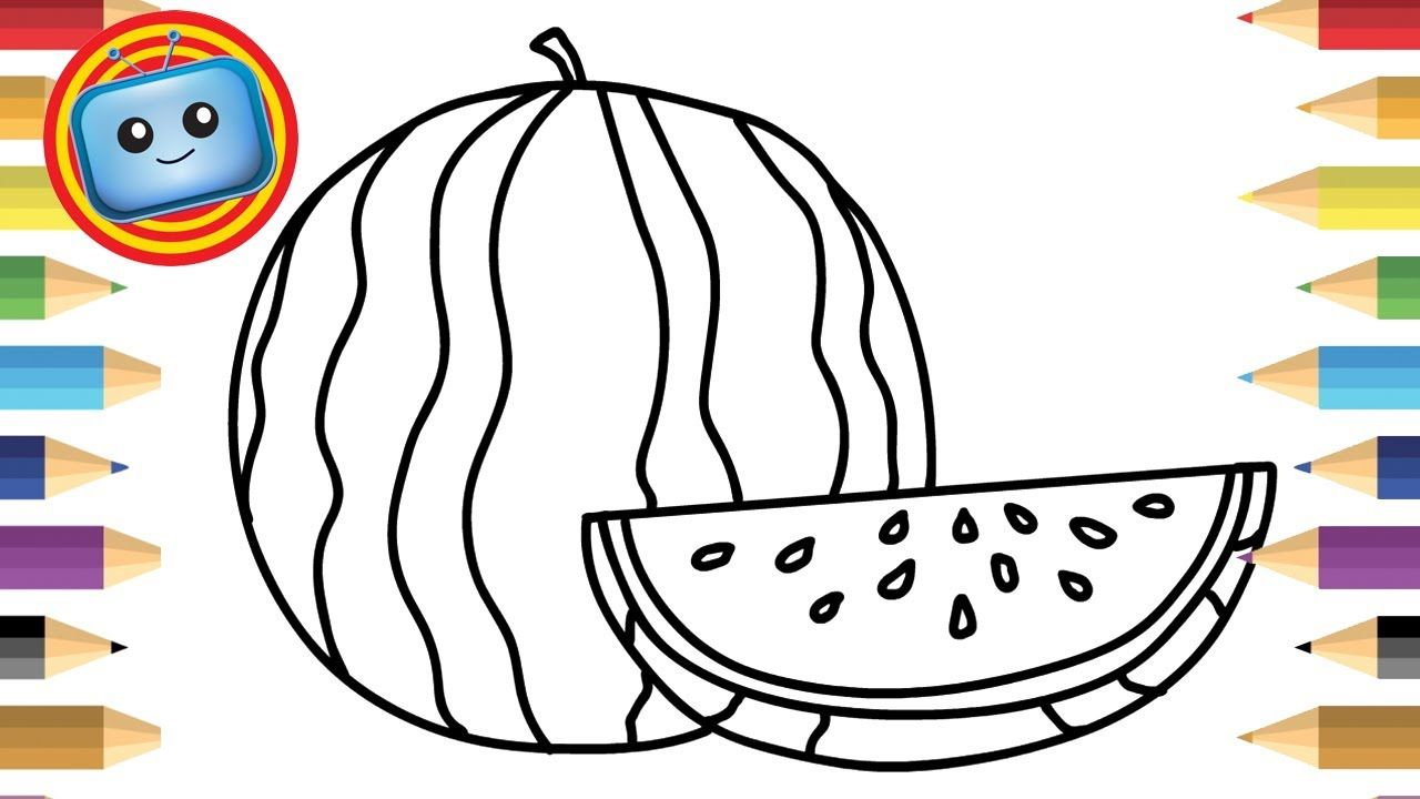 1280x720 How To Draw A Watermelon Colouring Book Simple Drawing Game