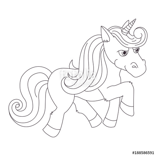 500x500 Unicorn, Hand Drawn Vector Linen Illustration For Logotype
