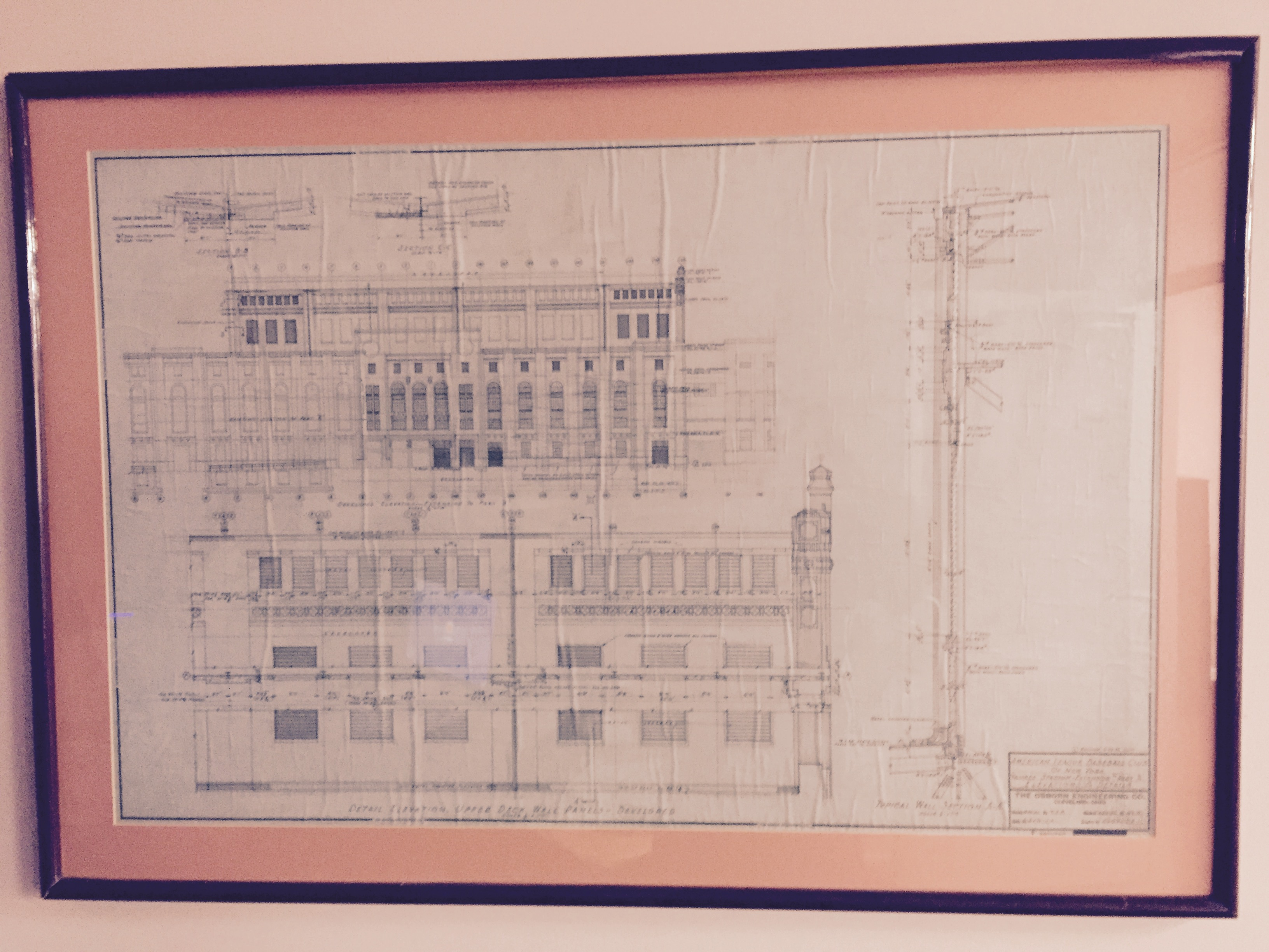 3264x2448 1928 Yankee Stadium Ink On Linen Blueprint Of Outside Facade