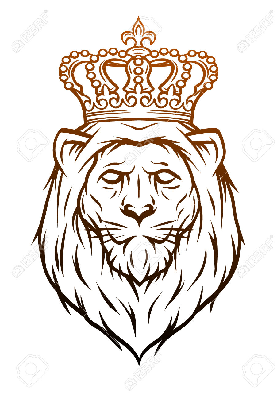 903x1300 Collection Of Lion Head With Crown Drawing High Quality