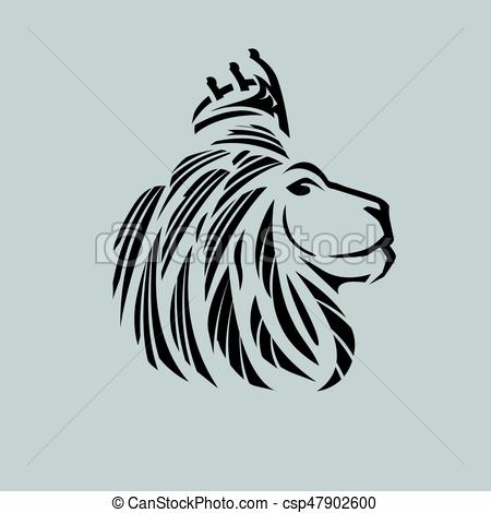 450x470 Lion Head Illustration With A Crown.just Outlines. Lion Head