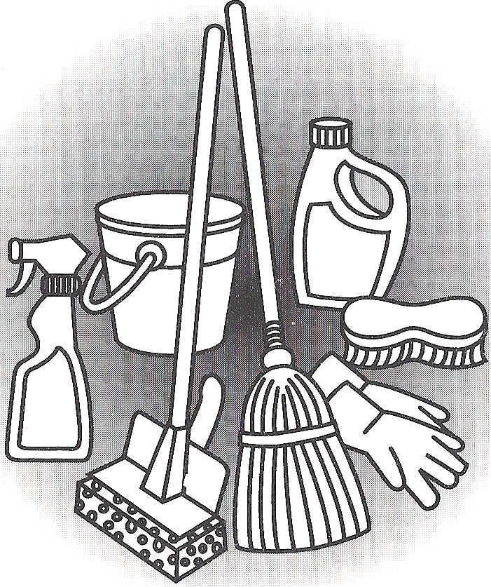 701x837 Cleaning Supplies Drawing