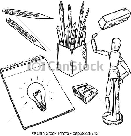 450x464 Art Equipment Doodles. Drawing And Painting Art Objects Hand Drawn
