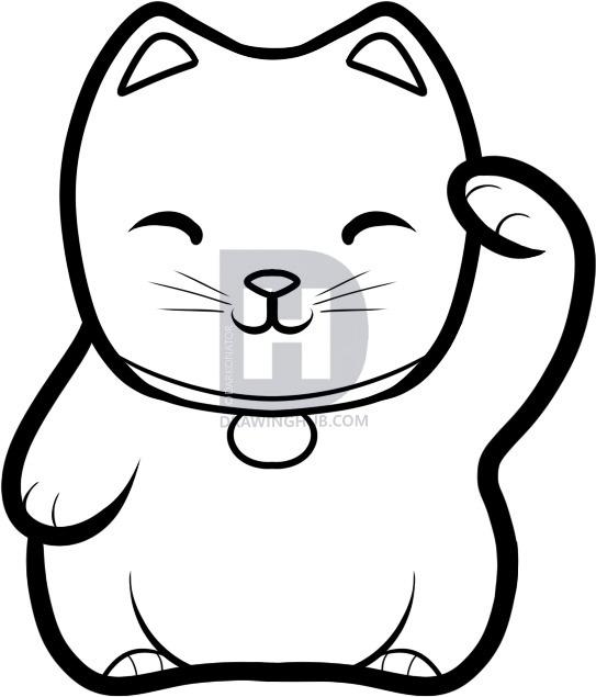 543x635 How To Draw Lucky Cat, Maneki Neko, Lucky Cat, Step By Step