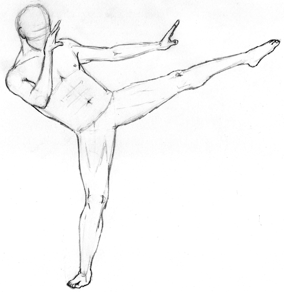 948x975 Drawing The Human Figure Male Figure Performing High Kick