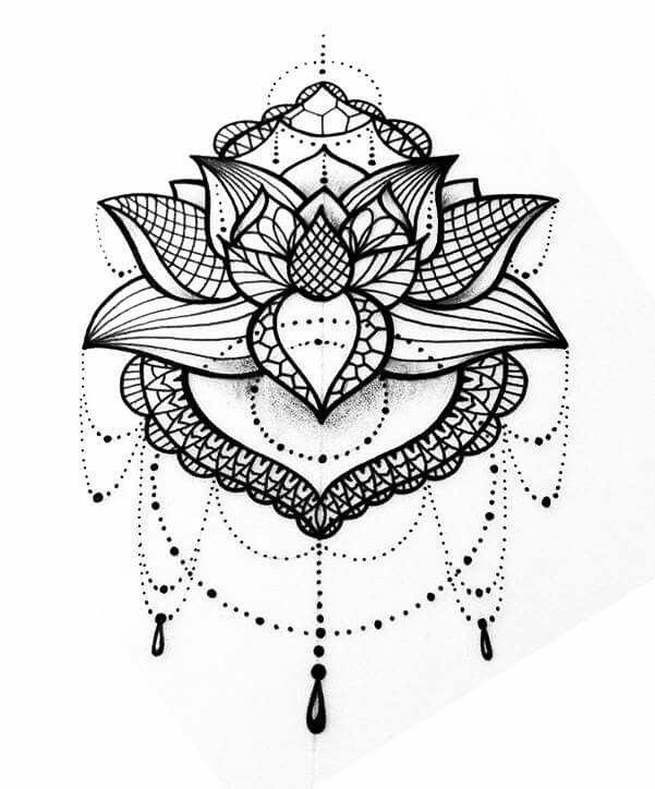 Lotus Flower Mandala Sternum Tattoo Flowers Healthy