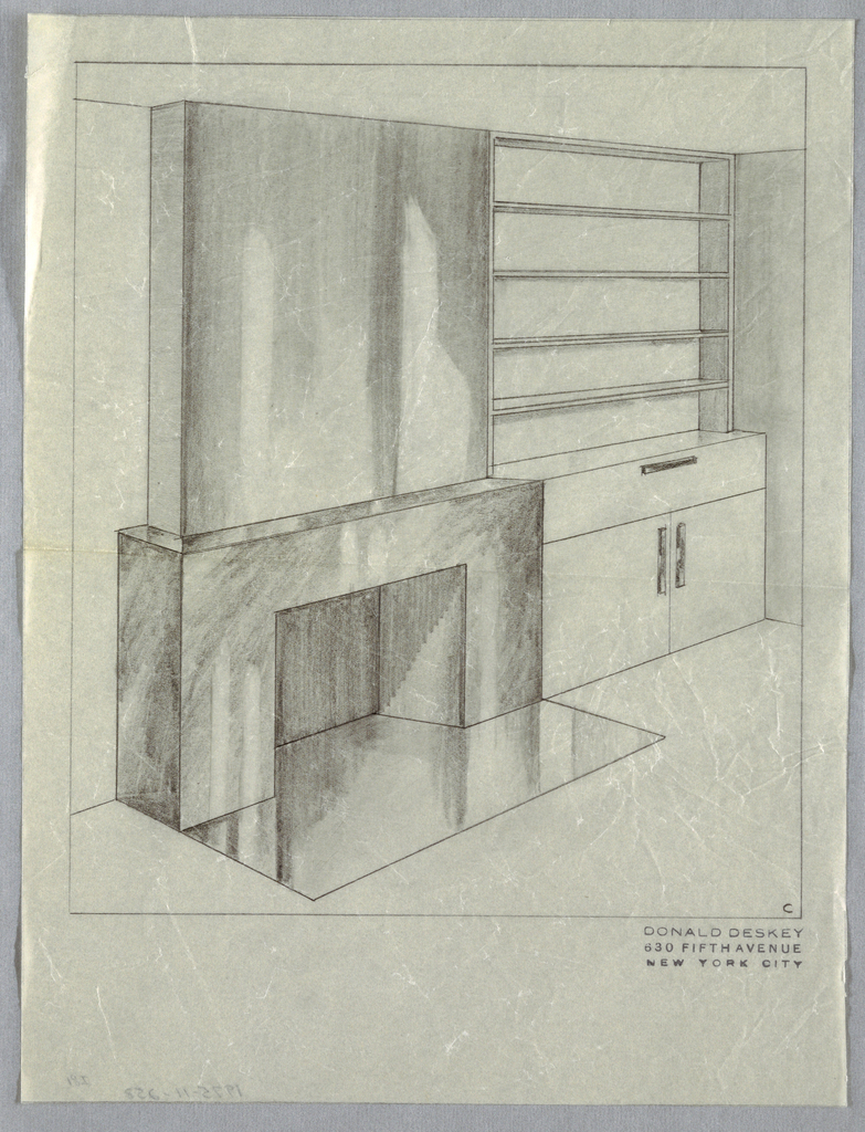 783x1024 Drawing, Jascha Heifetz Apartment Fireplace Wall Mantel