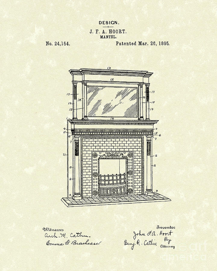 720x900 Mantel 1895 Patent Art Drawing By Prior Art Design