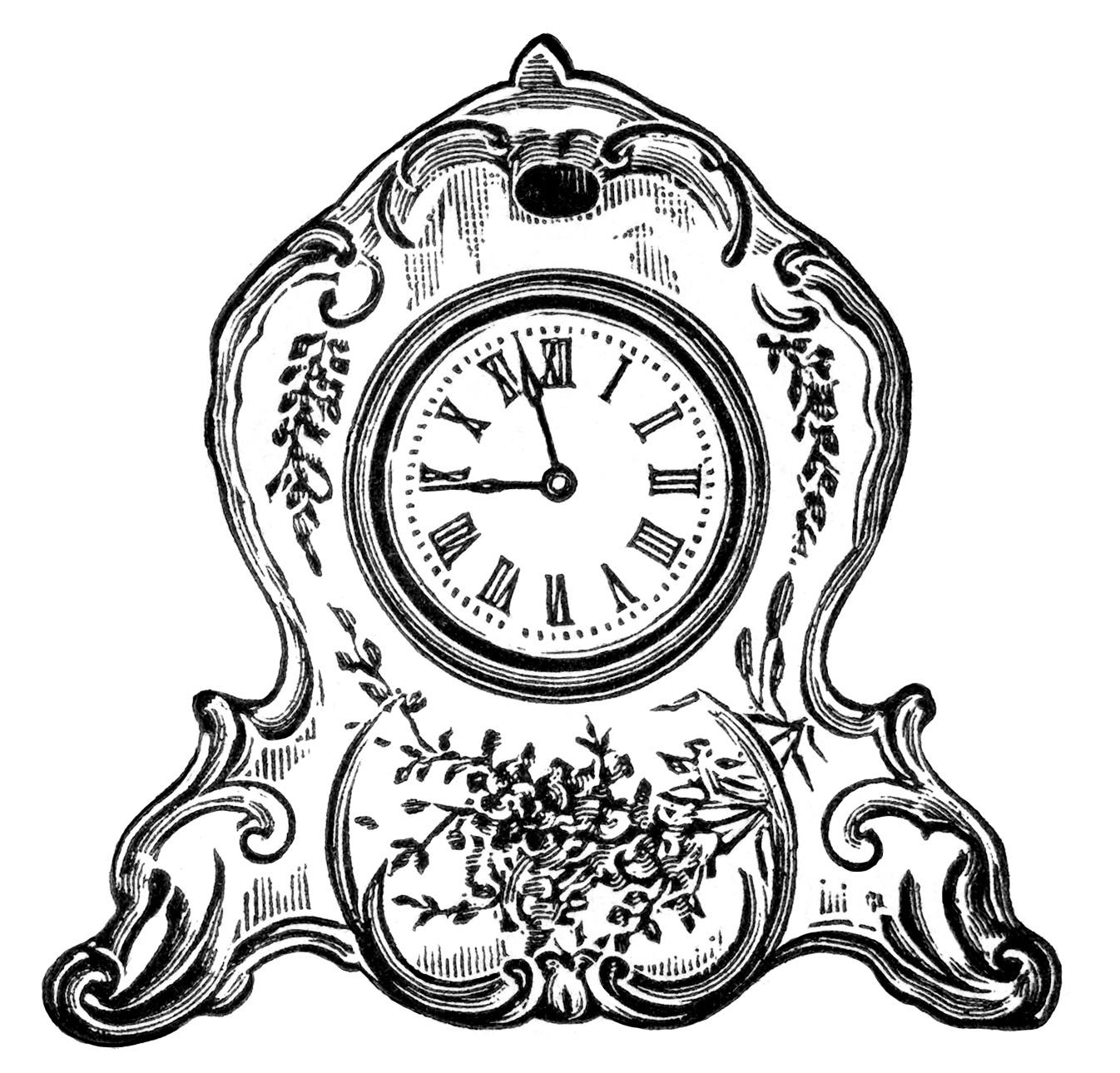 1346x1290 Free Vintage Image Decorated Porcelain Clock Clip Art Old Design
