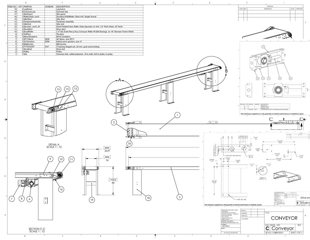 1060x819 Manufacturing Drawings For Inclined Conveyor Machine Plans