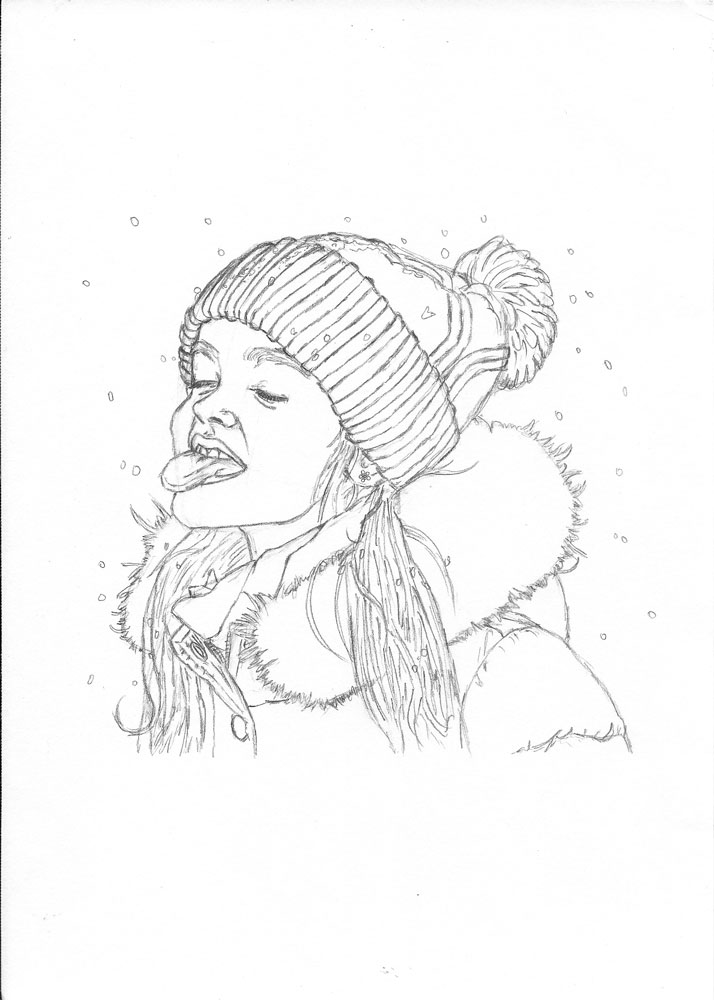 714x1000 How To Draw A Child Catching Snowflakes With Her Tongue Let'S