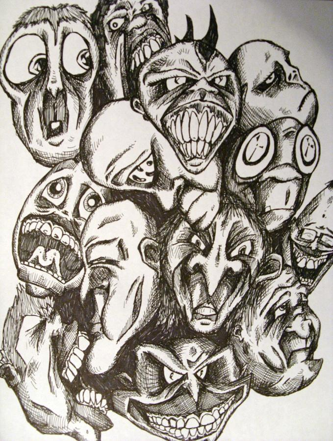 679x900 Many Faces Drawing By Michael Toth