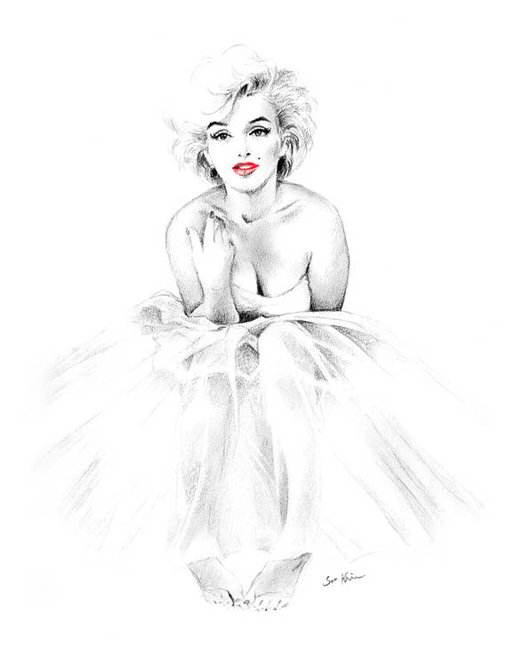 570x738 Marilyn Monroe Ballerina Black And White Drawing Print