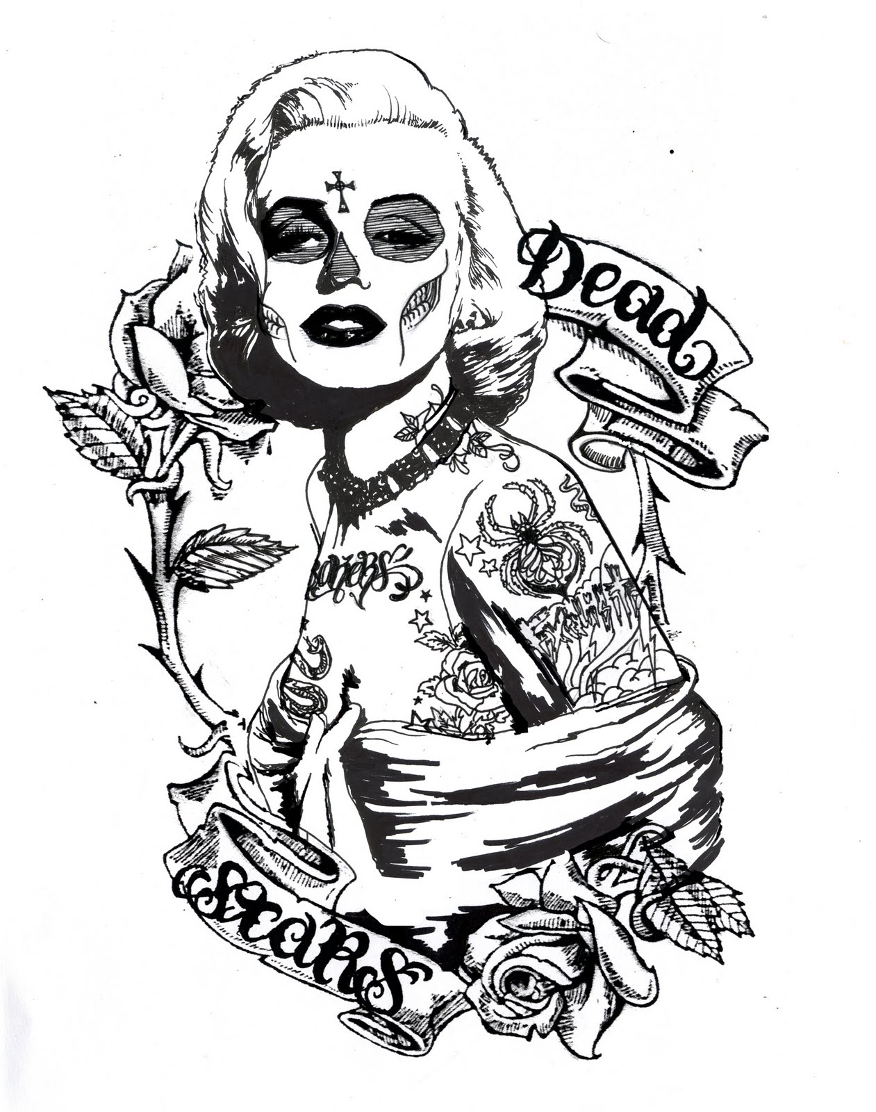 Marilyn Monroe Drawing With Tattoos