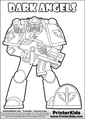 290x406 Colouring Sheet Drawn With A Deailed Dark Angels Space Marine