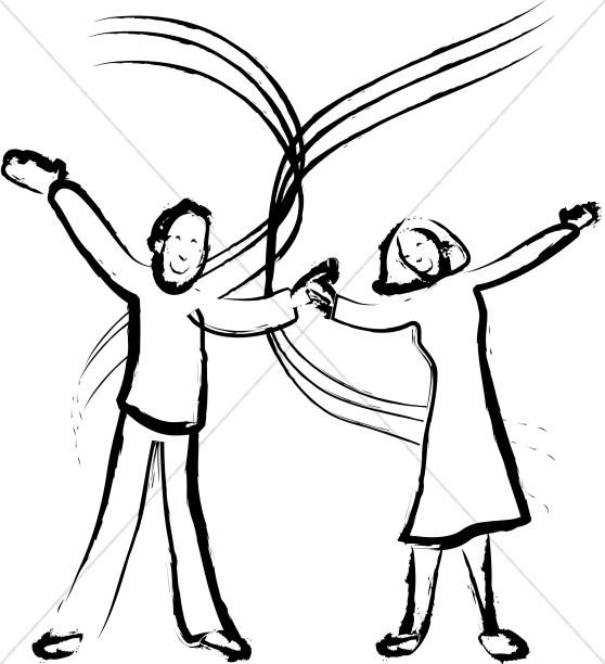 558x612 Joyful Married Couple Image Church People Clipart
